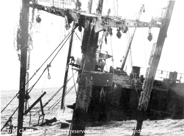 Close up photograph superstructure of Liberty ship SS Richard Montgomery wreck at low tide