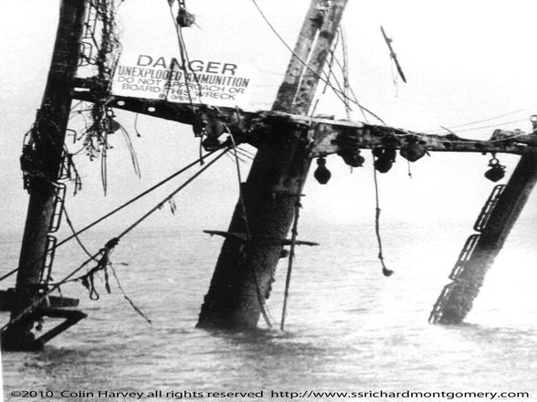 Close up photograph Mast Tree of Liberty ship SS Richard Montgomery wreck at low tide