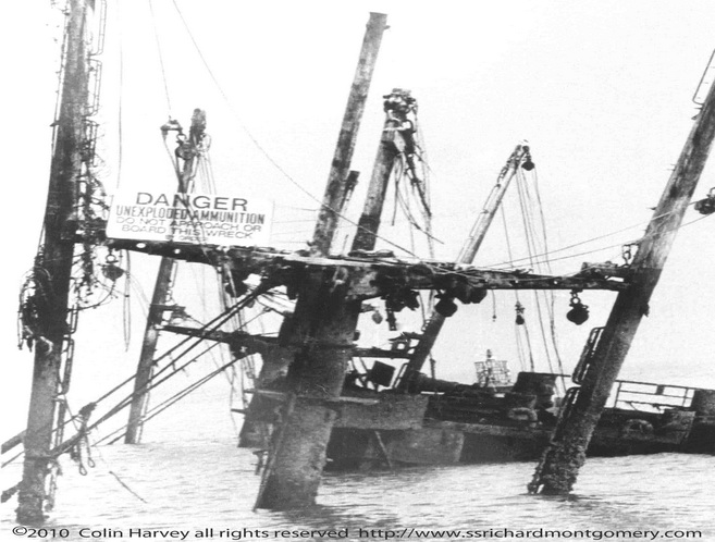 Close up photograph of Liberty ship SS Richard Montgomery wreck at low tide