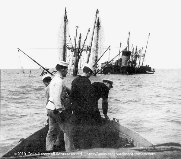 approaching wreck of ss richard montgomery to unload  cargo just before she sunk