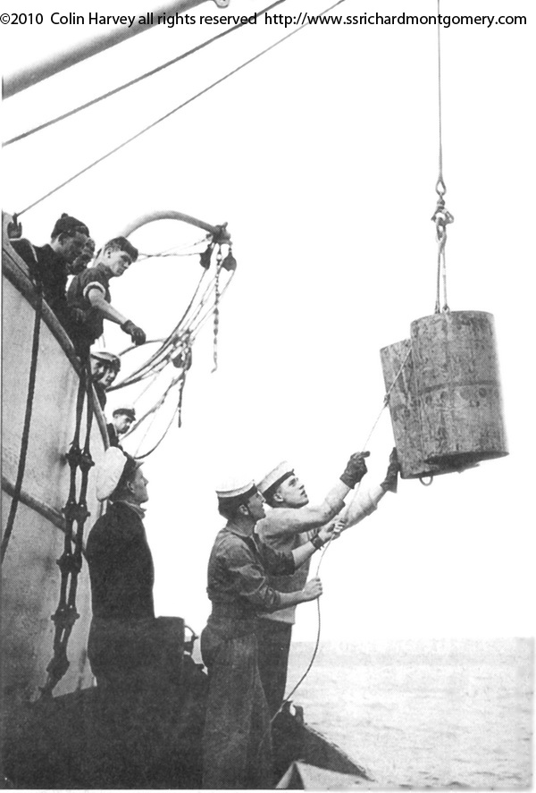 unloading cargo from wreck of ss richard montgomery just before she sunk