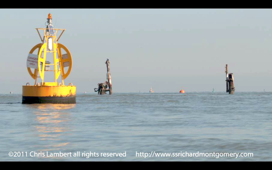 ss richard montgomery wreck with southend on sea  in the background